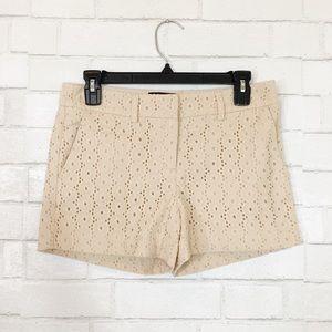 Cynthia Rowley Tan Eyelet Embroidered Shorts